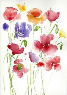 flores acuarela fáciles de hacer, hermoso dibujo de flores para el verano, más de 90 propuestas de pinturas acuarela Watercolor Drawing, Watercolor Flowers, Art Floral, Watercolour Tutorials, Flower Art, Art Drawings, Creative, Artist, Crafts