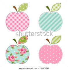 Fabric retro applique of cute apples with green leaf for scrap booking or invitation cards or party decoration