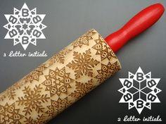 Wooden Personalised Monogrammed Snowflake by BezalelArtShop