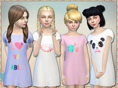 4 long shirts so little sim girls can look just loveable while taking their naps! Could also be worn as a casual or formal outfit.  Found in TSR Category 'sims 4 Female Child Everyday'