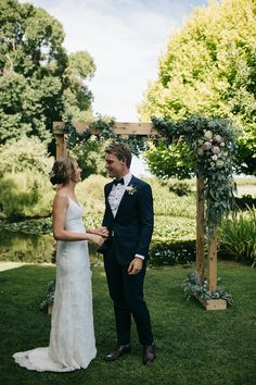 Claire + Daniels stunning Victorian Country Wedding. Claire wore the 'Gianna' gown from the BESPOKE collection by @kwhbridal. Photographer – Sarah Godenzi Photography. // Florist – Rutherglen Florist Follow us @kwhbridal