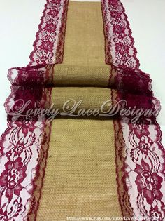 21ft-30ft Burlap Lace Table Runner/Burgandy/ Wine Lace, 13in Wide/Wedding Decor/Weddings/Home/Party Decor by LovelyLaceDesigns on Etsy