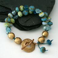 Athena - Blue Czech Glass Beaded Bracelet