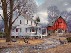 Farm Painting, Nostalgic Art, Colonial Artwork, Painting of Red Barn, Turkey Art, White House Painting, Farm House Print, Country Home-3730