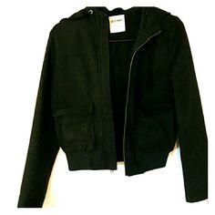 Wool Bomber Jacket Dark gray wool, hooded bomber jacket Old Navy Jackets & Coats