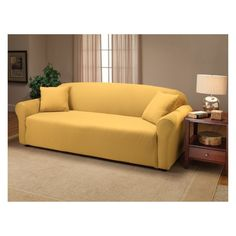 Breathe new life into your sofa with this one-piece sofa slipcover in stretch jersey fabric. Cover your new sofa to minimize damage from stains and spills. This stretch sofa slipcover extends the life Armchair Slipcover, Furniture Slipcovers, Dining Chair Slipcovers, Furniture Covers, Cushions On Sofa, Loveseat Sofa, Sofas, Madison Homes, Loveseat Covers