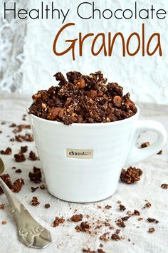 Healthy Chocolate Granola. Refined sugar free and low fat. Because who doesn't want chocolate for breakfast? #breakfast #recipe