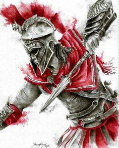 Epic artwork from AC odyssey. Artist unknown Epic artwork from AC odyssey. Assassins Creed Tattoo, Arte Assassins Creed, Assassins Creed Odyssey, Gladiator Tattoo, Tatoo Art, Body Art Tattoos, Sleeve Tattoos, Trash Polka Tattoos, Tattoo Trash