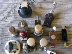 Vintage Antique Auto Switches Door Bell Buttons by RusticSpoonful