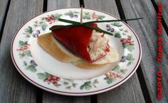 Tapas : Piquillo Pepper Stuffed with White Tuna on Long Bread.