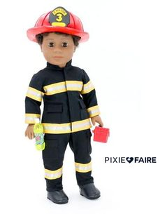 Doll Tag Clothing Firefighter Outfit Doll Clothes Pattern 18 inch dolls such as . - Made With Patterns found at Pixie Faire - Dolly Dolls Boy Doll Clothes, Doll Clothes Patterns, Pdf Sewing Patterns, Clothing Patterns, Firefighter Boots, Volunteer Firefighter, Volunteer Gifts, Volunteer Appreciation, American Girl Halloween