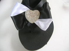 Perfect for Destination Weddings. Black Platform Flip Flops with Black and White Silk Ribbon and Rhinestone Heart.  Sweet Sixteen Parties, Bat Mitzvah or Dress up your outfit!