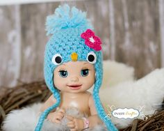 This is the cutest little hat i have ever seen! Crochet Baby Hat Patterns, Crochet Baby Hats, Crochet Scarves, Baby Patterns, Flower Patterns, Crochet Character Hats, Crochet Projects, Crochet Ideas, Newborn Crochet