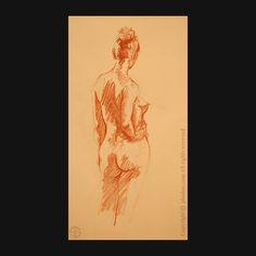 quick sketch - sanguine . #lifedrawing - #sketch - #sketchbook - #pencil - #sanguine - #nude - #nudeart - #standingpose - #back - #jeandavidsolon
