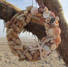 Seashell and Wine Cork Wreath by HomeSweetCoast on Etsy, $35.00