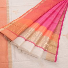 White Handwoven Chanderi Silk Cotton Saree With Bird Motifs 10007901 - AVISHYA.COM