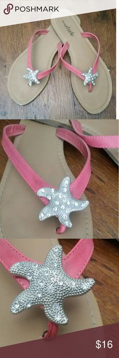 Beautiful Starfish Sandals These are just the cutest! They have coral straps, feature a bedazzled starfish accent pendant. Great for summer Only worn once! Charming Charlie Shoes Sandals