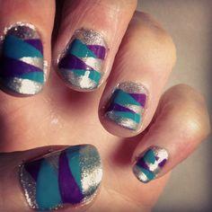Braided nail art - silver, purple, teal