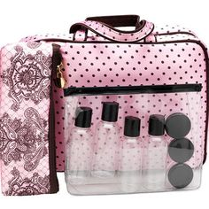 London Look Weekender Cosmetic Bag Set - Pink Lace with Dots - 3piece #Help4theHolidays @LondonDrugs