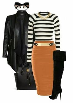 A fashion look from october 2015 featuring city chic jackets, boohoo skirts and michael kors tote bags. browse and shop related looks. Classy Outfits, Stylish Outfits, Winter Outfits, Look Fashion, Fashion Outfits, Womens Fashion, Fall Fashion, Petite Fashion, Curvy Fashion