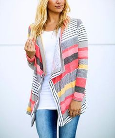 Another great find on #zulily! Coral Stripe Open Front Cardigan - Plus Too #zulilyfinds