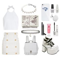"""White it~"" by kwonrena ❤ liked on Polyvore featuring Dsquared2, Proenza Schouler, BlissfulCASE, Michael Kors, Gucci, Topshop, OPI and Balmain"
