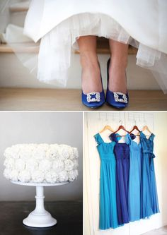 Party Palette: Cobalt & Turquoise - I would make the gray more of a silver, and throw in a salmon/orange with a touch of purple.