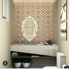 Revestimento Chevron  repost de @raqueluriointeriores -  Olhem só que incrível ficou o estudo desse lavabo!!  Na bancada a cuba esculpida é desenhada com duas cores diferentes de pedra finalizando com um nicho em madeira para pequenos objetos. O revestimento da parede segue a tendência do chevron em 3D. E aí gostaram do resultado? Deixe seu comentário!   #design #lavabo #bancada #revestimento3D #interioresdesign #silestone #pedraesculpida #maskirevestimentos #renderup  #imagem #promob…