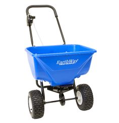 "Earthway 2040 PiPlus salt/icemelt spreader. 65 lb hopper. 9"" pneumatic tires. Powder coated frame. High speed gearbox."