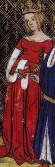 RED (from the Grande Chronique de France, about This is my all-time favorite gown in a medieval manuscript.