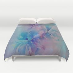 Shabby Chic Painterly Floral Abstract Duvet Cover by Judy Palkimas - $99.00