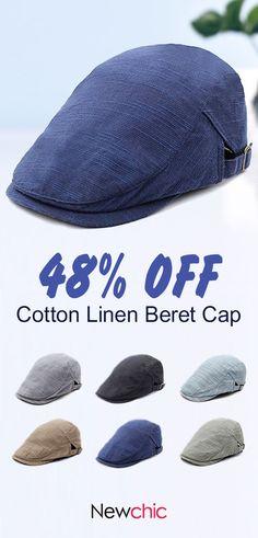 51fd3707 Mens Cotton Linen Solid Color Beret Cap Adjustable Vogue Vintage Casual  Forward Hat Beret, Caps