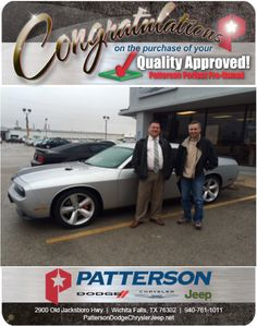 Congratulations to Samuel Greggory on his 2012 Challenger! - From David Reece at Patterson Dodge Chrysler Jeep Ram New Dodge Challenger, Dodge Chrysler, Fiat, Congratulations, Wichita Falls, David