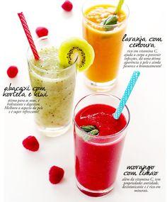 Sucos Funcionais: Laranja & Cenoura - 1 laranja - 1 cenoura pequena - 5 gelinhos de couve (ou uma folha) - 1 colher de sobremesa de mel orgânico Abacaxi, hortelã & kiwi - 3 fatias de abacaxi congelado* - 1 kiwi picadinho - 3-4 folhinhas de hortelã - 200 ml de água de coco Morango & Limão - 10-12 morangos congelados* - 1/2 banana congelada* - 1 limão siciliano - 200 ml de água de coco Fonte: http://nutricionario.com/2013/01/super-suco-como-combinar-saude-sabor/