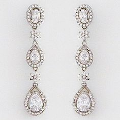 CZ bridal earrings at Perfect Details.  Our Petite triple teardrop earrings are sparkling & flattering & feature our favorite teardrop design.