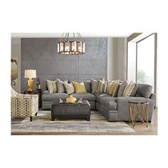 Cindy Crawford Home Palm Springs Gray 3 Pc Sectional ❤ liked on Polyvore featuring home, furniture, sofas, grey furniture, 3pc sectional, gray couch, three piece sectional and 3 piece sectional
