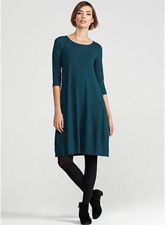 Scoop Neck Knee-Length Dress in Viscose Jersey - Eileen Fisher