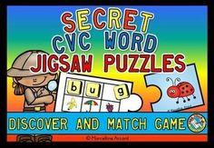 SECRET CVC WORD JIGSAW PUZZLES - REVEAL SECRET WORD AND MATCH IT WITH PICTURE!  This resource will surely engage students! In this pack you will find 82 fun and interactive jigsaw puzzles. There are puzzles for each short vowel sound: a, e, i, o & u.   Students reveal the secret word by placing letter tiles* with the beginning sound above each small picture! Then they read the word and find the jigsaw piece with the corresponding picture.