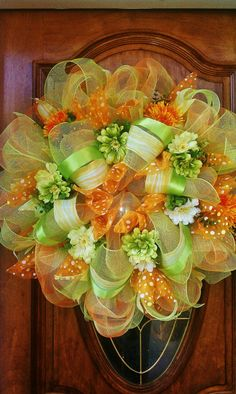 Items similar to Orange Blossom Summer Deco Mesh Wreath on Etsy Deco Mesh Crafts, Wreath Crafts, Diy Wreath, Wreath Ideas, Easter Wreaths, Holiday Wreaths, Holiday Crafts, Summer Deco, Summer Wreath
