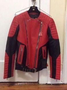 Men Handmade Vintage H&M x Balmain Jacket Biker Unoffical Copy Biker Red Zipper #Handmade #BikerJackets