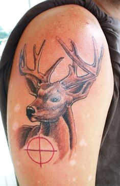 Deer Tattoos The Effective Pictures We Offer You About Hunting Tattoos for women A quality picture c Deer Hunting Tattoos, Deer Tattoo, Hunting Shop, Hog Hunting, Tattoos For Guys, Tattoos For Women, Tattoo Damen, Hirsch Tattoo, Tattoo Designs For Women