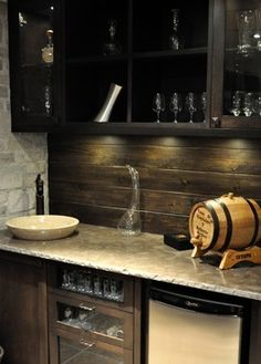 An idea that would work for a basement bar or a man cave bar. The aged wood backsplash is cool Basement Bar Designs, Basement Ideas, Basement Bars, Rustic Basement, Garage Ideas, Wood Backsplash, Backsplash Design, Countertop, Backsplash Ideas