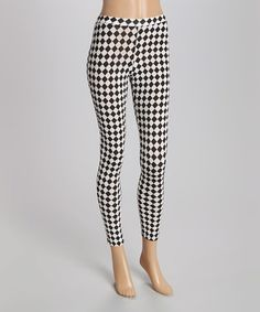Another great find on #zulily! White & Black Checkerboard Leggings - Women #zulilyfinds