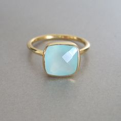 Aqua Chalcedony Square Gold Ring