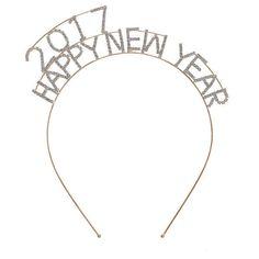 2017 headband, crystal headband, happy new year headband, NYE... ($22) ❤ liked on Polyvore featuring accessories, hair accessories, crystal headband, head wrap headband, stretchy headbands, stretch headbands and hair band headband