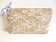 Burlap And Lace Clutch Bag - Bridal Makeup Bag - Bridal Zipper Pouch - Bridesmaid Gift - Prom Clutch - Cosmetic Bag - Rustic Clutch by SewSouthwest on Etsy