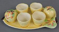 Vintage Carlton Ware Yellow Apple Blossom Cruet Set & 4 Egg Cups