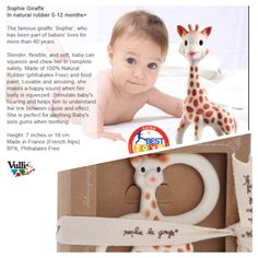 BEST TEETHER! #Sophie the Giraffe Teether by Vulli comes in natural rubber for baby's teething 0- 12 months. Ring size for smaller hands or squeaky teether for older babies!