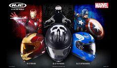 Ahora más que nunca no podrás quitarte a tus superhéroes favoritos de la cabeza, y es que los cascos HJC, han puesto la mira sobre Marvel y sus atractivos personajes, rueda seguro en el rol de Iron-man, Capitán América o The Punisher.