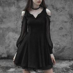 Black Tea Dress Korean Outfits, Korean Fashion, Cold Shoulder Dress, Dress Up, Korean Clothes, K Fashion, Costume, Korean Fashion Styles, Korea Fashion